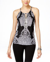 INC International Concepts Printed Embellished Halter Top, Only at Macy's