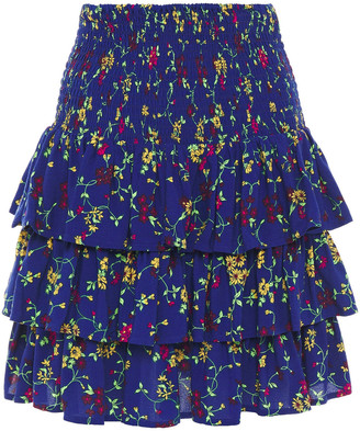 Maje Shirred Floral-print Crepe Mini Skirt