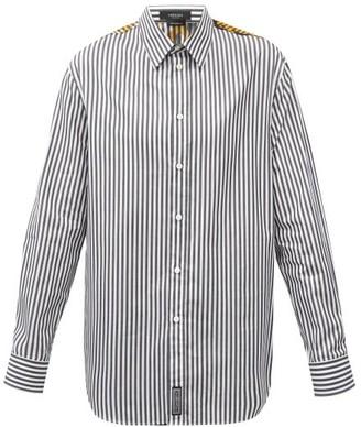 Versace Baroque-print Striped Cotton-poplin Shirt - Black White