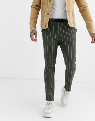 Asos Design DESIGN skinny pants in khaki pin stripe with webbed belt