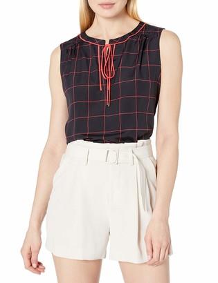 Tommy Hilfiger Women's Contrast Tie Neck Sleeveless Top