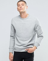 Converse Box Star Quilted Sweatshirt In Grey 10002160-A02