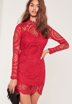 Missguided Scallop Circle Lace Bodycon High Neck Dress Red