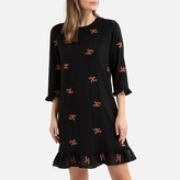 La Redoute Collections Ruffled Short Shift Dress with Floral Embroidery and 3/4 Sleeves