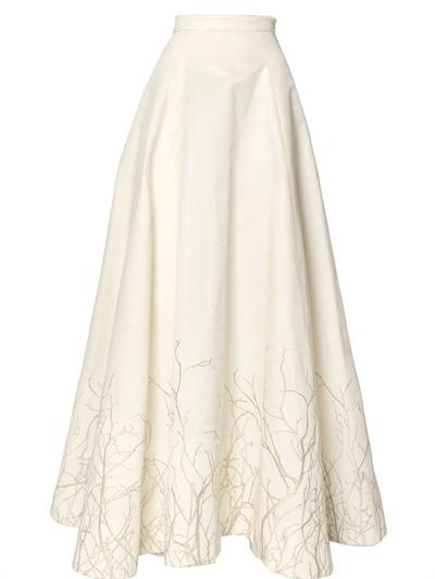 Gareth Pugh Embroidered Silk Cotton Faille Skirt