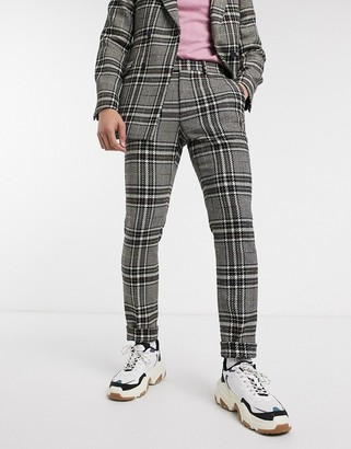 ASOS DESIGN skinny suit pants in wool mix with rainbow yarn check