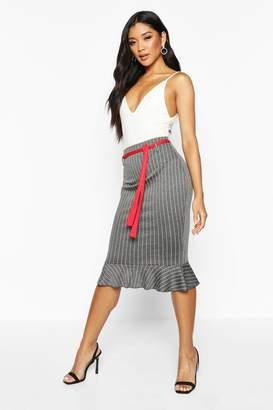 boohoo Pinstripe Pencil Skirt With Sash Belt