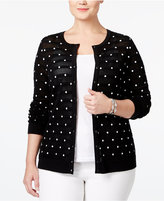 Charter Club Plus Size Textured Polka-Dot Cardigan, Only at Macy's