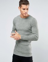 Asos Longline Rib Knitted Crew Neck in Muscle Fit