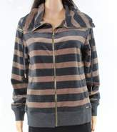 Calvin Klein Beige Charcoal Stripe Velvet XL Full-Zip Fleece Jacket