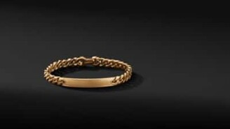 David Yurman Micro Curb Chain Id Bracelet In 18K Yellow Gold