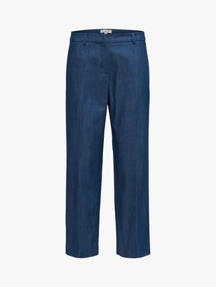 Selected Jeanne Cropped Denim Trousers, Dark Blue