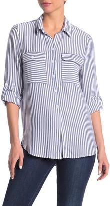 BeachLunchLounge Jordana Striped Double Pocket Button Front Shirt