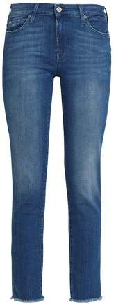 7 For All Mankind Cropped Faded Mid-rise Skinny Jeans