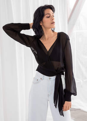 And other stories Sheer Billowy Wrap Blouse
