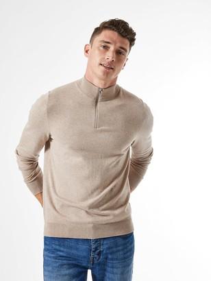 Burton Menswear London Half Zip Jumper - Neutral