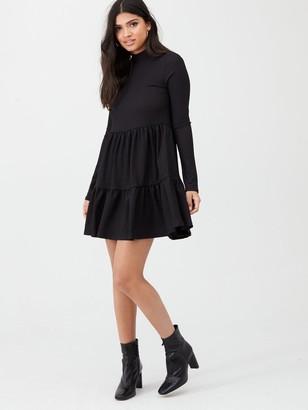 River Island High Neck Tiered Panelled Smock Dress- Black