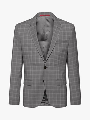 HUGO BOSS by Harvey202 Windowpane Check Wool Slim Fit Blazer, Open Grey