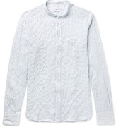 Incotex Simon Slim-Fit Grandad-Collar Striped Crinkled Stretch-Cotton Shirt
