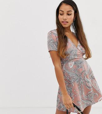 Parisian Petite paisley print dress-Pink