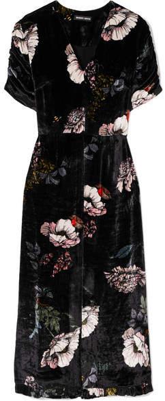 Markus Lupfer Alexia Floral-print Velvet Midi Dress - Black