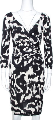Diane von Furstenberg Monochrome Printed Silk Capela Dress L