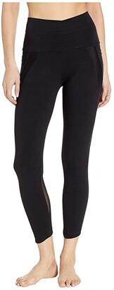Hard Tail Crossover Waist Duo Pocket 7/8 Leggings (Black) Women's Casual Pants