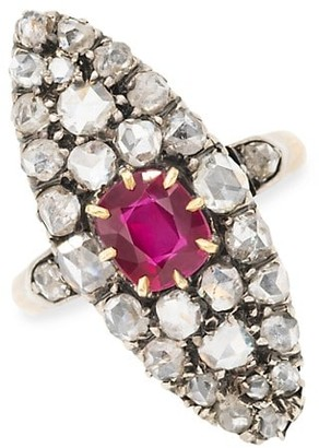 Stephanie Windsor Antique 18K Yellow Gold, Silver, Ruby & Diamond Halo Navette Ring