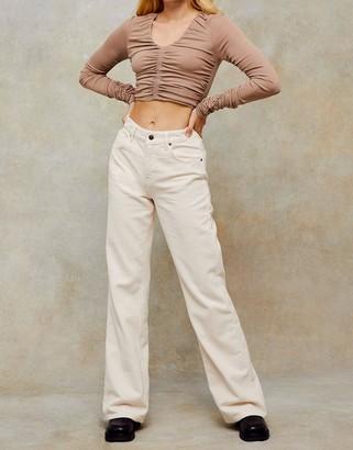 Topshop cord straight leg jeans in ecru