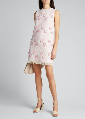 Andrew Gn Sleeveless Tweed Shift Dress w/ Floral Embroidery