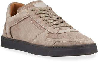 Giorgio Armani Men's Suede Contrast-Sole Sneakers
