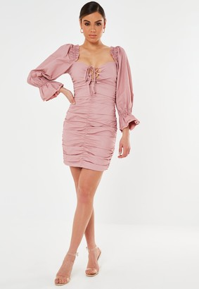 Missguided Petite Pink Poplin Lace Up Puff Sleeve Mini Dress