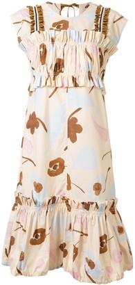 Lee Mathews Tiered Floral Midi Dress