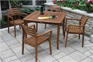 Outdoor Interiors 5Pc Danish Eucalyptus Dining Set