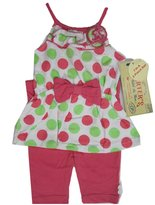 Carter's Baby Girls Green Pink Dotted Ruffle Flower Bow 2 Pc Pants Set 24M