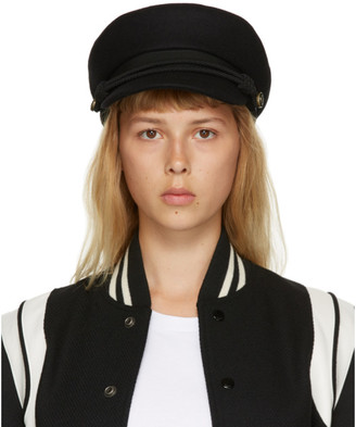 Saint Laurent Black Felt Sailor Cap
