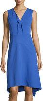 Neiman Marcus Sleeveless Ruffled V-Neck Knit Dress, Cobalt