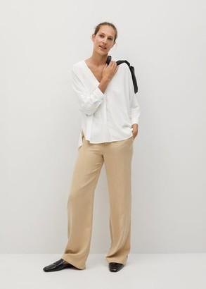 MANGO V-neck blouse off white - 2 - Women