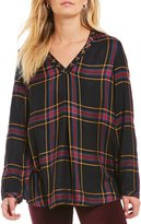 Intro Studded V-Neck Plaid Rayon Peasant Top