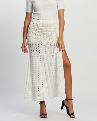 Atmos & Here Atmos&Here - Women's White Midi Skirts - Mia Knit Skirt - Size 6 at The Iconic