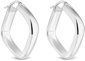 Simply Silver Sterling Silver 925 Large Polished Square Hoop
