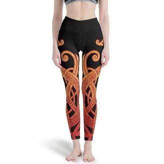 LPLoveYogaShop Girls' Leggings Vintage Nordic Viking Dragon Celtic Knot Tattoo Graphic Elastic Yoga Pants Streetwear for Women - White - XL