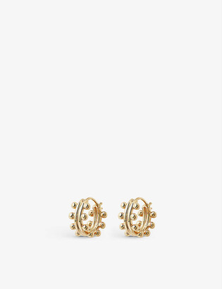 Missoma Double beaded mini 18ct yellow gold-plated vermeil hoop earrings