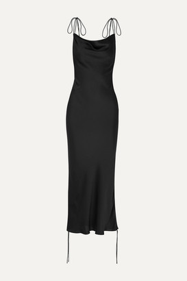 Orseund Iris Ruched Satin Dress - Black