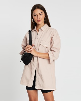 Missguided Self-Button Detail Oversized Denim Shirt