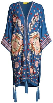 Roller Rabbit Salcete Kimono-Sleeve Embroidery Coverup