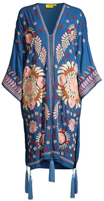 Roller Rabbit Salcete Kimono-Sleeve Embroidery Cover-Up