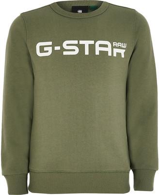 River Island Boys G-Star Raw khaki logo sweatshirt