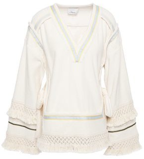 3.1 Phillip Lim Fringed Macrame-trimmed Bow-detailed Cotton-terry Tunic