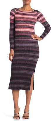 French Connection Bintan Striped Long Sleeve Ribbed Midi Dress